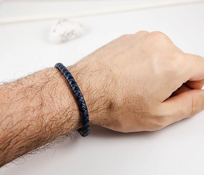 BM529-3 Плетеный мужской браслет из черной и синей кожи фото 08