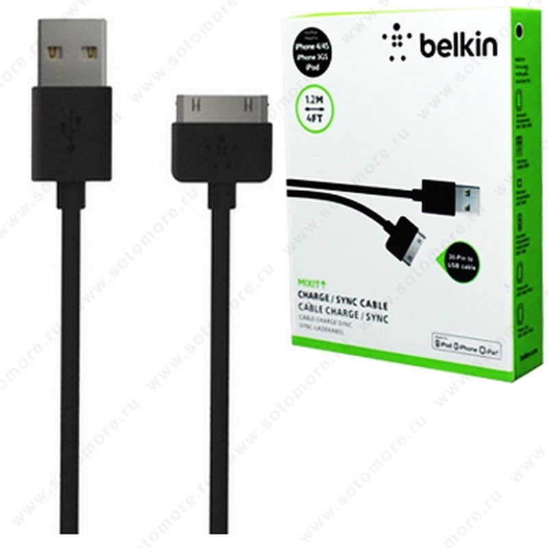 Кабель BELKIN 30-pin to USB 1.2 метра черный