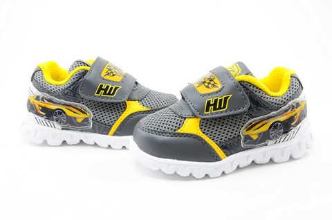 Светящиеся кроссовки для мальчиков Хот Вилс (Hot Wheels), цвет темно серый, мигают картинки сбоку и на липучках. Изображение 10 из 12.