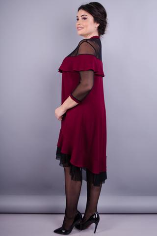 Ліка. Гарна жіноча сукня плюс сайз. Бордо.