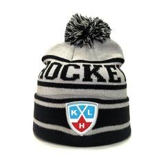 Вязаная шапка хоккей КХЛ  (Hockey KHL) черно-серая в полоску с бубоном