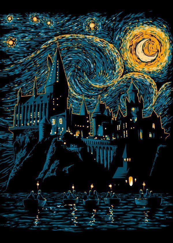 «Постер металлический Гарри Поттер - Хогвартс и Ван Гог ...