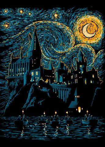 Постер металлический Гарри Поттер - Хогвартс и Ван Гог