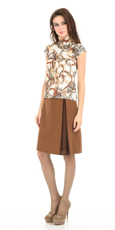 Юбка Б013-552 - Юбка из костюмной ткани на подкладке, Слева встречная складка с контрастной  нижней тканью. Смотрится стильно и необычно, подойдет как для офиса так и для повседневной жизни.