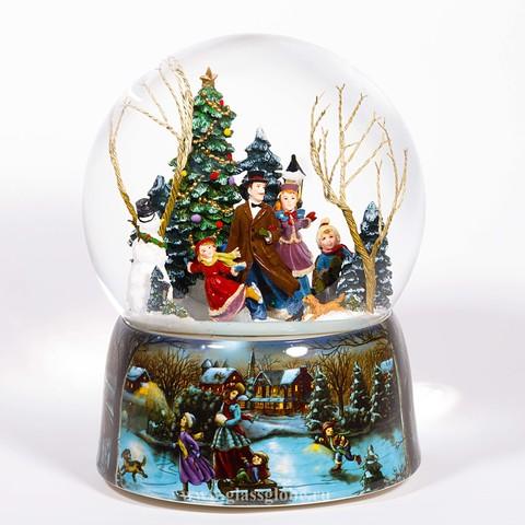 Стеклянный шар с блестками Катания на коньках