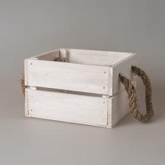 Ящик белый с веревочными ручками 51462