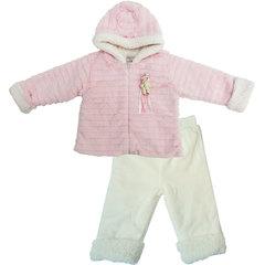 Папитто. Комплект утепленный куртка и брюки, розовый/экрю