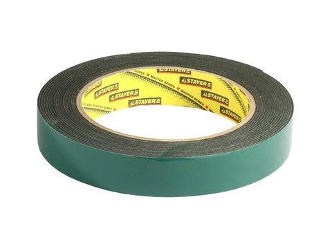 Двухсторонняя клейкая лента на вспененной основе, STAYER Professional 12233-19-05, черная, 19мм х 5м