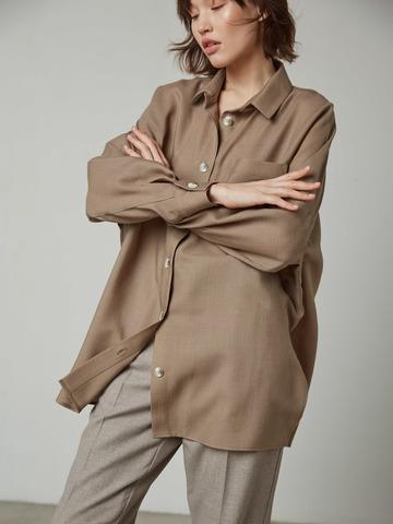 Рубашка свободного покроя из шерсти т.беж (262145)