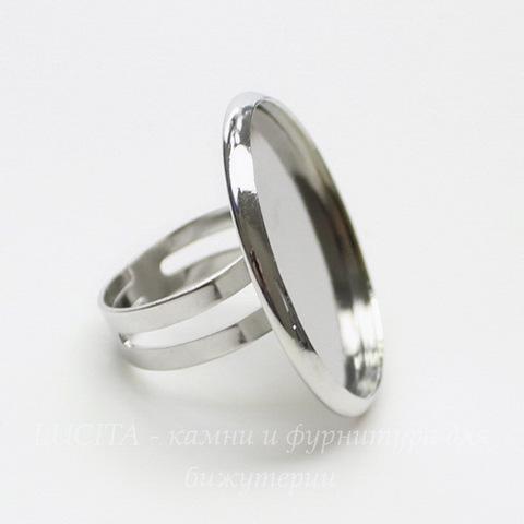 Основа для кольца с сеттингом для кабошона 27 мм (цвет - платина)