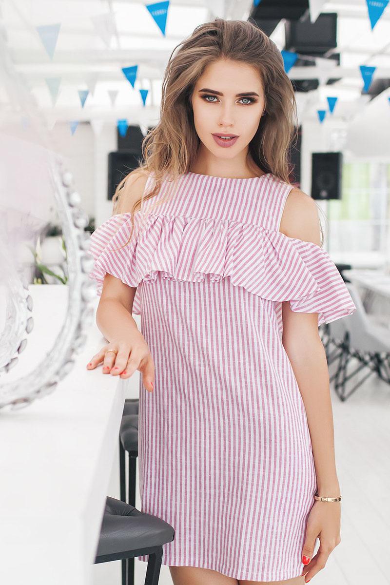 3b889de33b79 Летнее льняное платье в полоску, с открытыми плечами