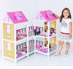 PAREMO Двухэтажный угловой кукольный дом (4 комнаты, 2 куклы) (PPCD116-03)