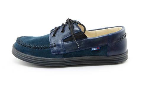 Ботинки для мальчиков кожаные Лель (LEL) на шнурках, цвет темно синий. Изображение 3 из 13.