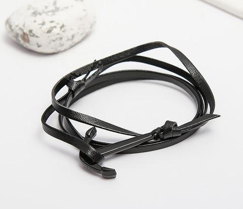 SL0222-K Браслет Spikes из кожи с якорем черного цвета