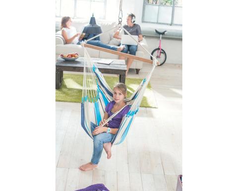 Кресло гамак из хлопка голубой Caribena CIC14-3