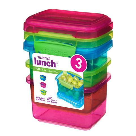 Набор контейнеров Lunch (3 шт) 400 мл, артикул 41544, производитель - Sistema
