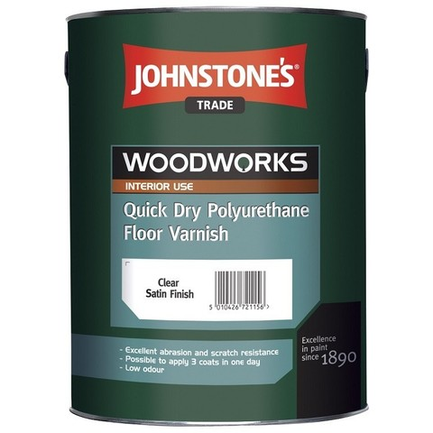 Лак полиуретановый Johnstones Quick Dry Polyurethane Floor Varnish Satin 5 л