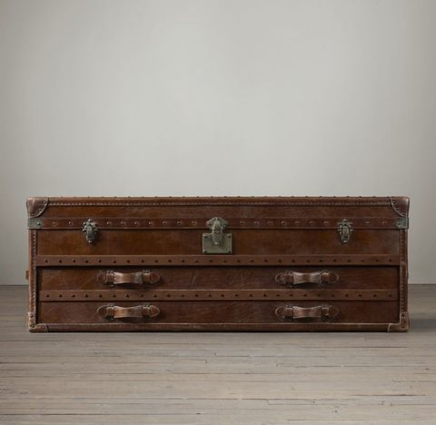 Mayfair Steamer Trunk Low Chest - Vintage Cigar
