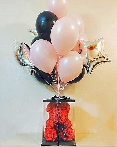 Мишка из роз 40 см и набор шаров  #4528
