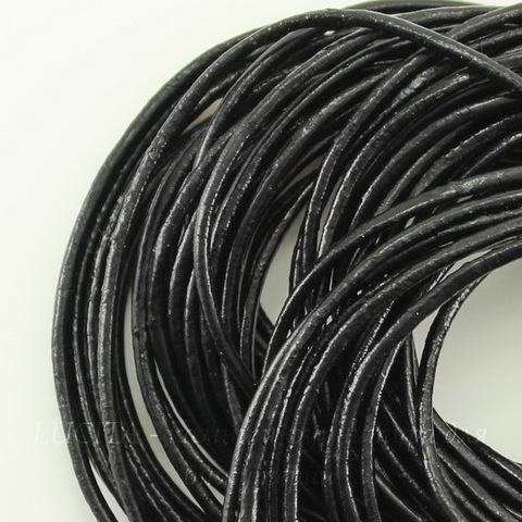 Шнур кожаный, 1,5 мм, цвет - черный, 1,5 мм, примерно 1 м