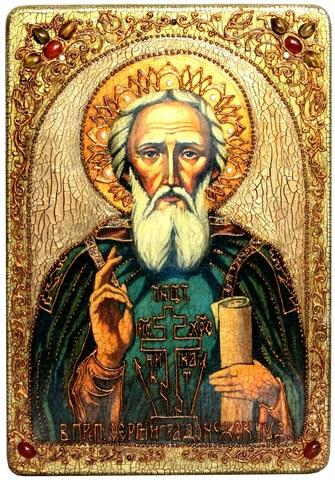 Инкрустированная большая икона Преподобный Сергий Радонежский чудотворец 42х29см на натуральном дереве в подарочной коробке