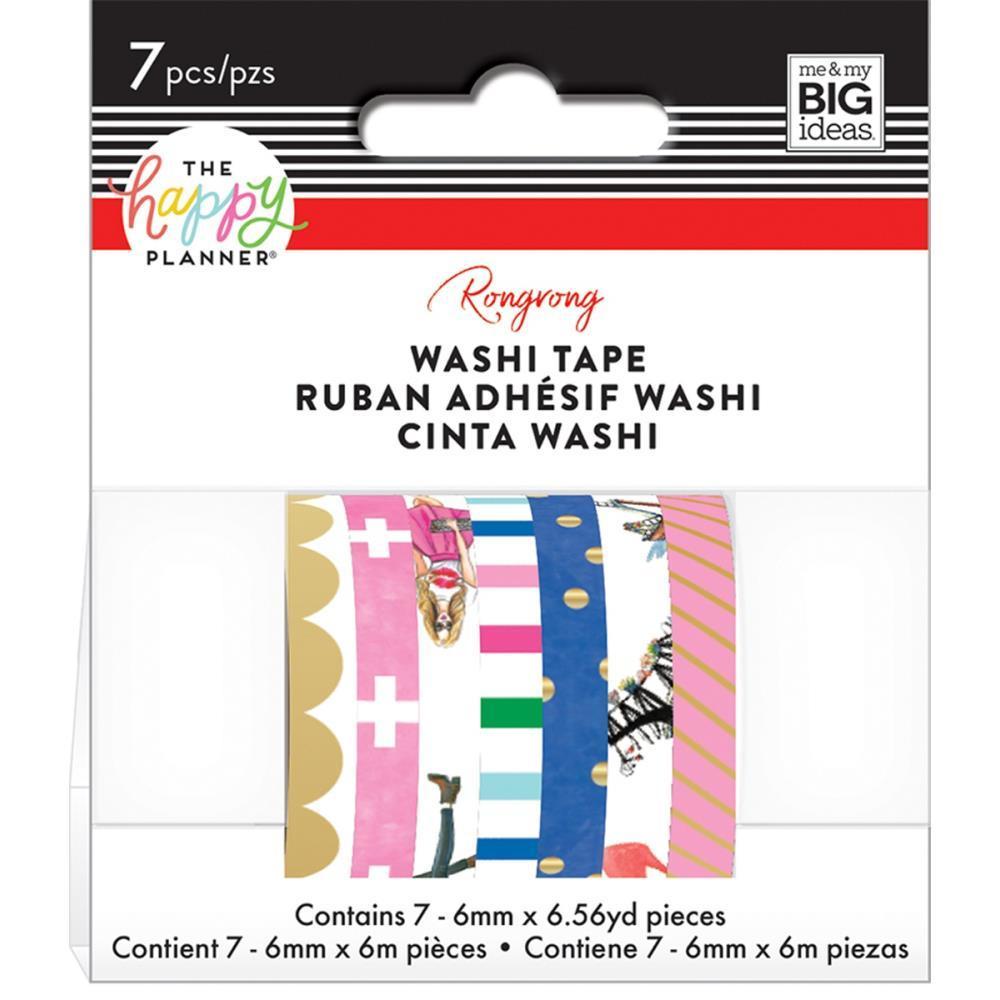 Набор скотчей Happy Planner Mini Washi Tape 6мм x 7м х 7шт -Colorful