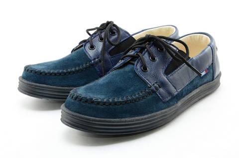 Ботинки для мальчиков кожаные Лель (LEL) на шнурках, цвет темно синий. Изображение 6 из 13.