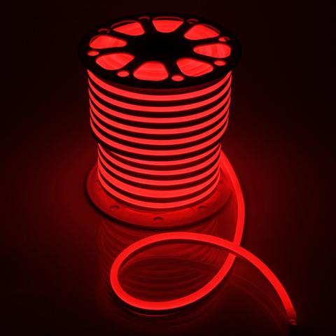 Гибкий неон 15*25 мм, светодиодный | Красный - 25м