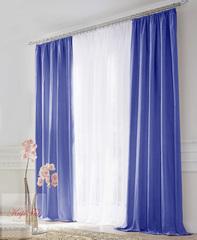 Комплект штор блэкаут (синий) и вуаль (белый)