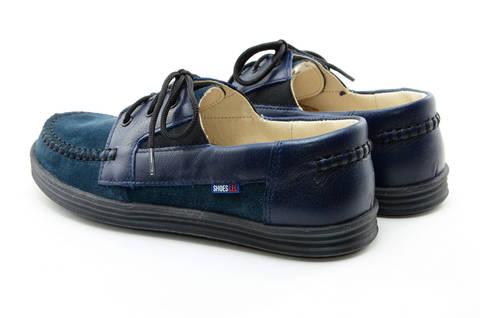 Ботинки для мальчиков кожаные Лель (LEL) на шнурках, цвет темно синий. Изображение 7 из 13.