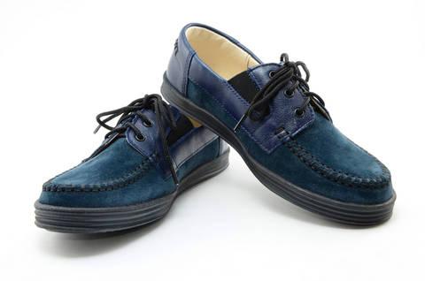 Ботинки для мальчиков кожаные Лель (LEL) на шнурках, цвет темно синий. Изображение 8 из 13.