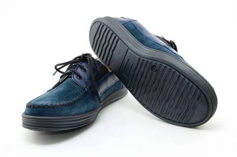 Ботинки для мальчиков кожаные Лель (LEL) на шнурках, цвет темно синий. Изображение 9 из 13.