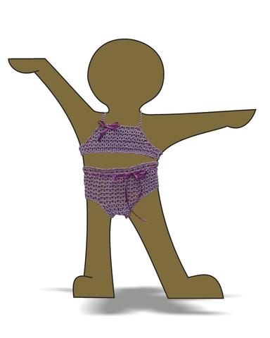 Купальник вязаный - Демонстрационный образец. Одежда для кукол, пупсов и мягких игрушек.