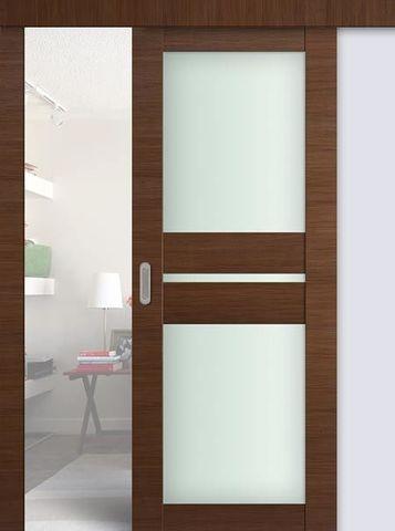 Дверь раздвижная Profil Doors №70Х, стекло матовое, цвет малага черри кроскут, остекленная