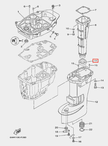 Сальник глушителя для лодочного мотора F20 Sea-PRO (21-11)