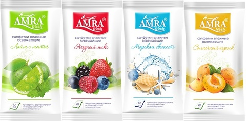 Bumfa Group Amra Салфетки влажные travel освежающие 4 фруктовых аромата 20шт