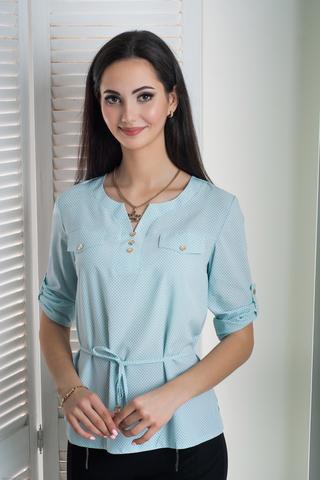 Джемма. Блуза больших размеров с пояском, рукав 3/4. Мята точки