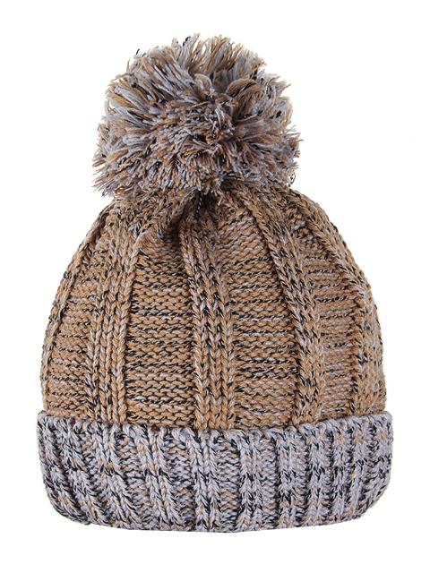 HT1804-3 шапка женская, коричнево-серая
