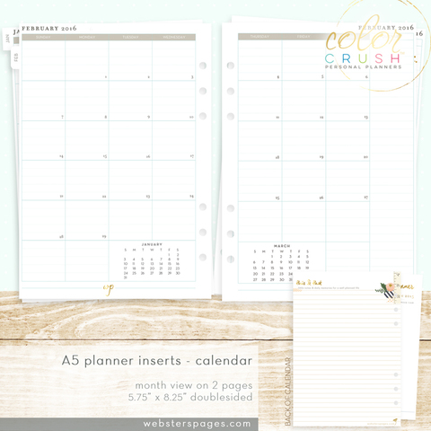 Разделительные страницы для ежемесячных заметок 15-MNTH MONTH ON TWO PAGE CALENDAR INSERTS (A5) для планнера  формата A5