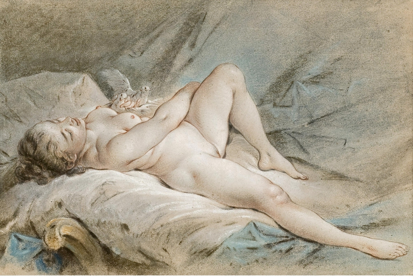 Франсуа Буше. Венера, играющая с двумя голубями (Venus jouant avec deux colombes). 28,8 x 44. Бумага. уголь, сангина и пастель. Частное собрание.