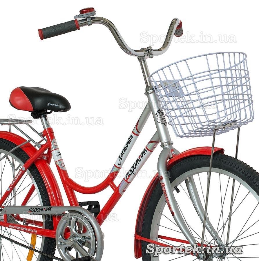 Вилка, корзинка городского универсального подросткового велосипеда Дорожник Ласточка 2015