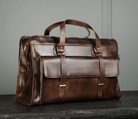 Мужская сумка саквояж из натуральной кожи