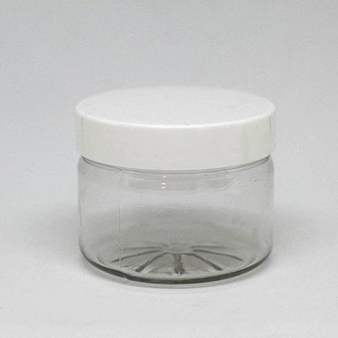 Банка для крема прозрачная, с белой крышкой