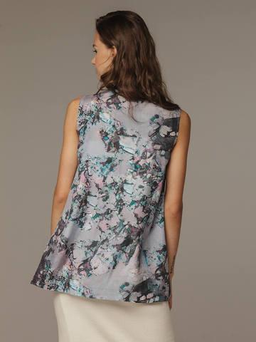 Printed female top made of 100% silk - фото 2