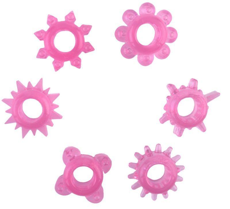 Эрекционные кольца: Набор из 6 розовых эрекционных колец