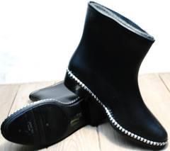 Короткие резиновые сапоги для города женские Hello Rain Story 1019 Black