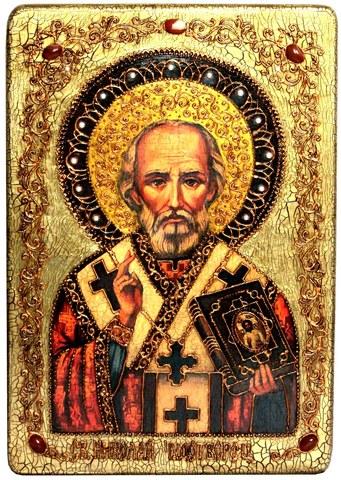 Инкрустированная большая икона Святитель Николай, архиепископ Мир Ликийский (Мирликийский), чудотворец 42х29см на натуральном дереве в подарочной коробке