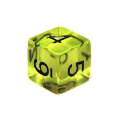 Куб D6 прозрачный: Зеленая скверна 16мм с цифрами