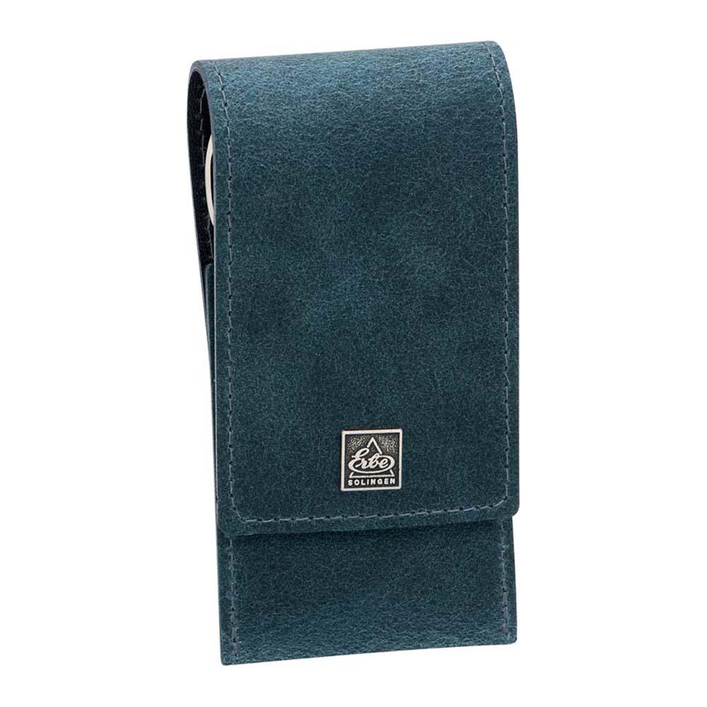 Маникюрный набор Erbe, 3 предмета, цвет синий, кожаный футляр