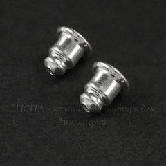 Зажим для пуссет-гвоздиков 6х5 мм (цвет - серебро) 5 пар